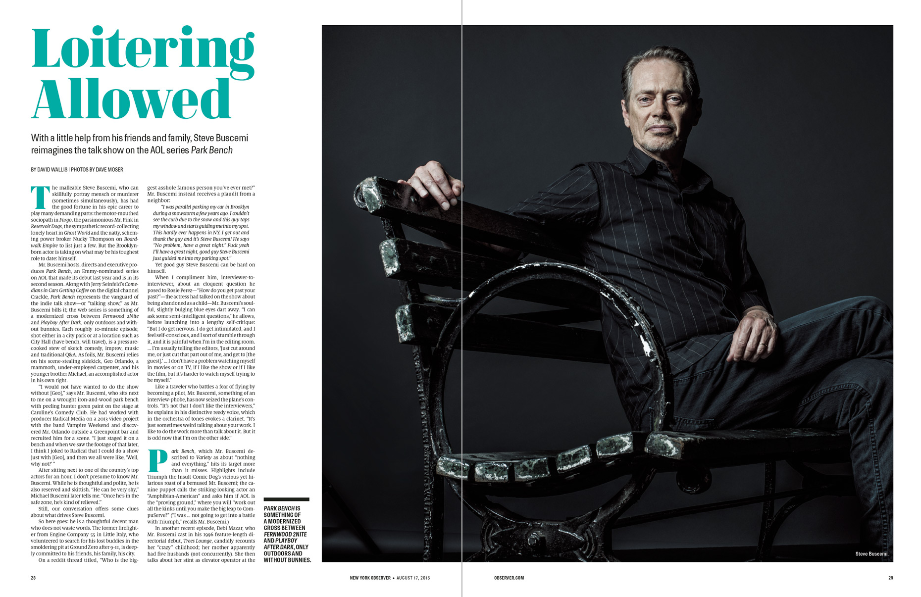 Steve Buscemi | Park Bench | Editorial Photographer Dave Moser