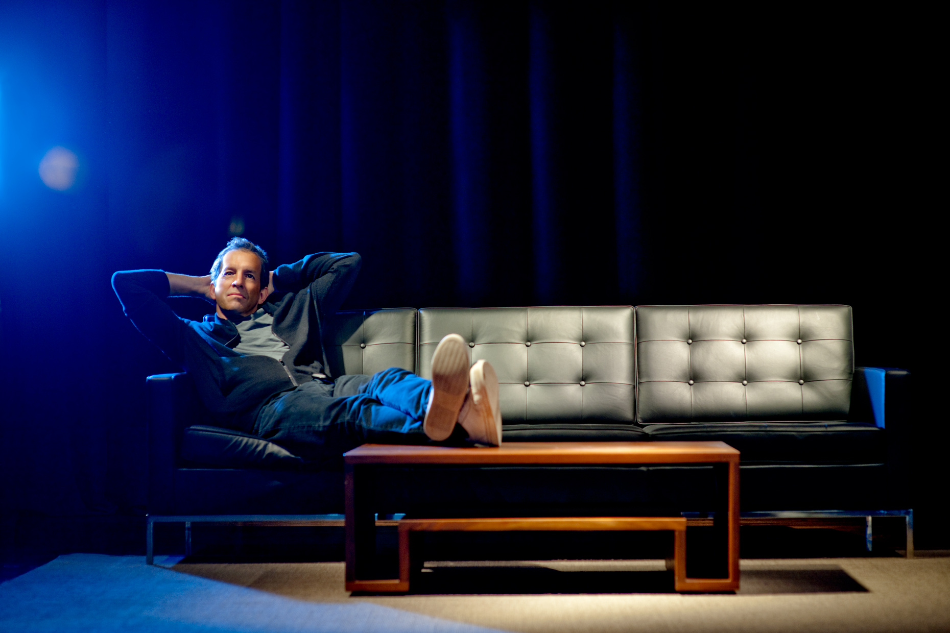 Editorial Portrait - Celebrity Kenneth Cole - couch lounging
