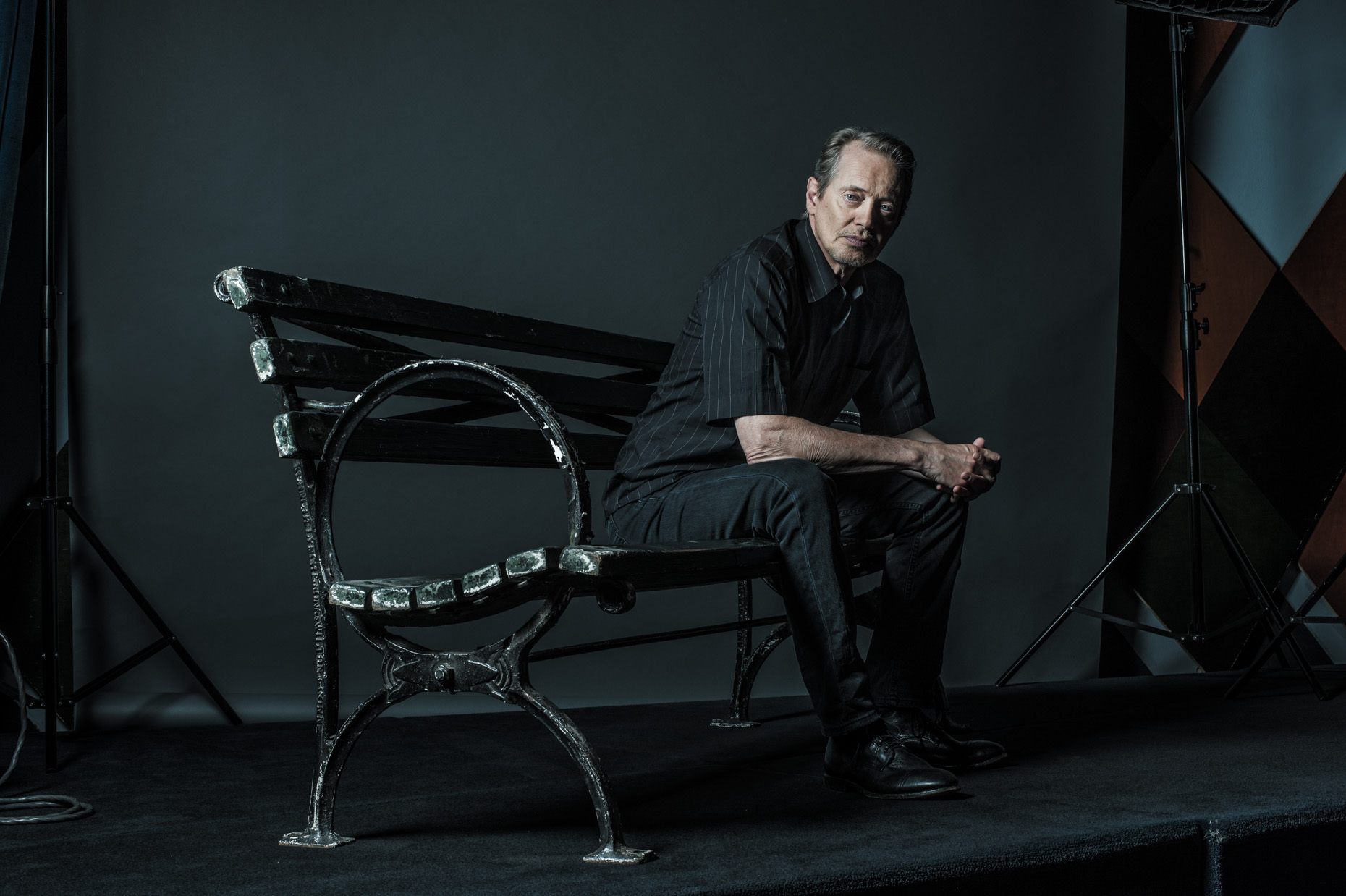 Steve Buscemi | Park Bench | NYC editorial photographer