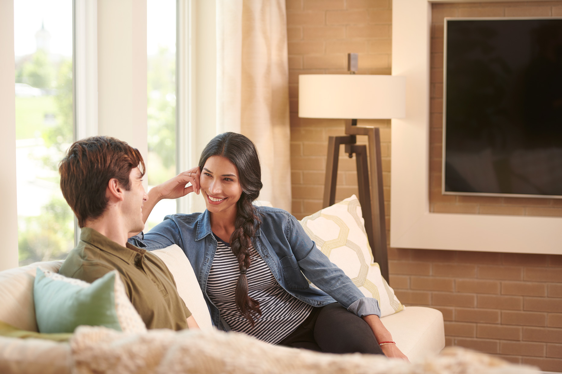 Couple on Couch | Toll Brothers Commercial Photographer