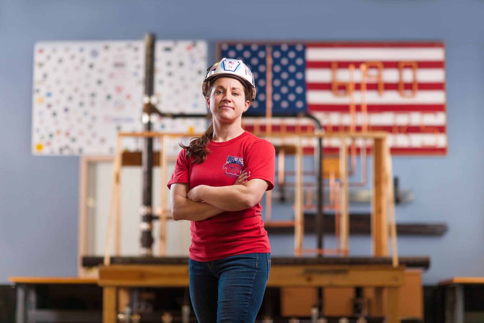 Female Plumber | USA Flag | Editorial Photographer