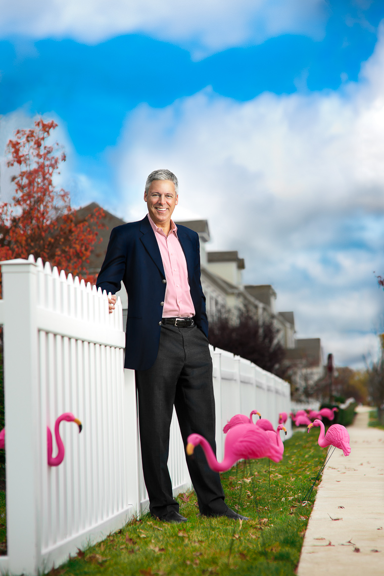 Pink Flamingos Man | Editorial Photographer Dave Moser