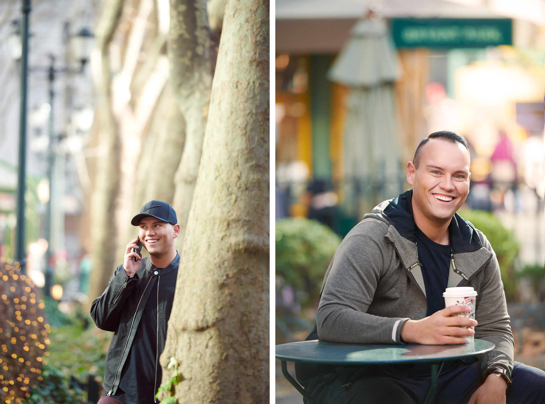 Dustin Brand with coffee and phone | Le-Vel editorial