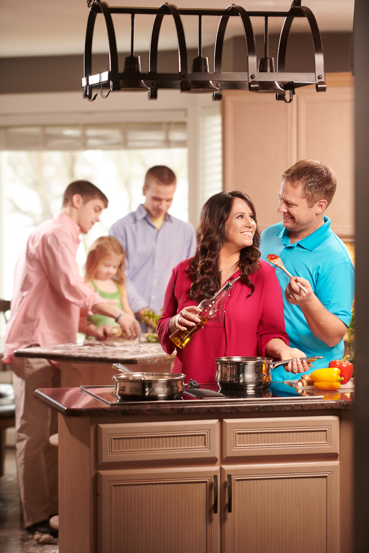 Family Cooking in Kitchen | Editorial Photographer