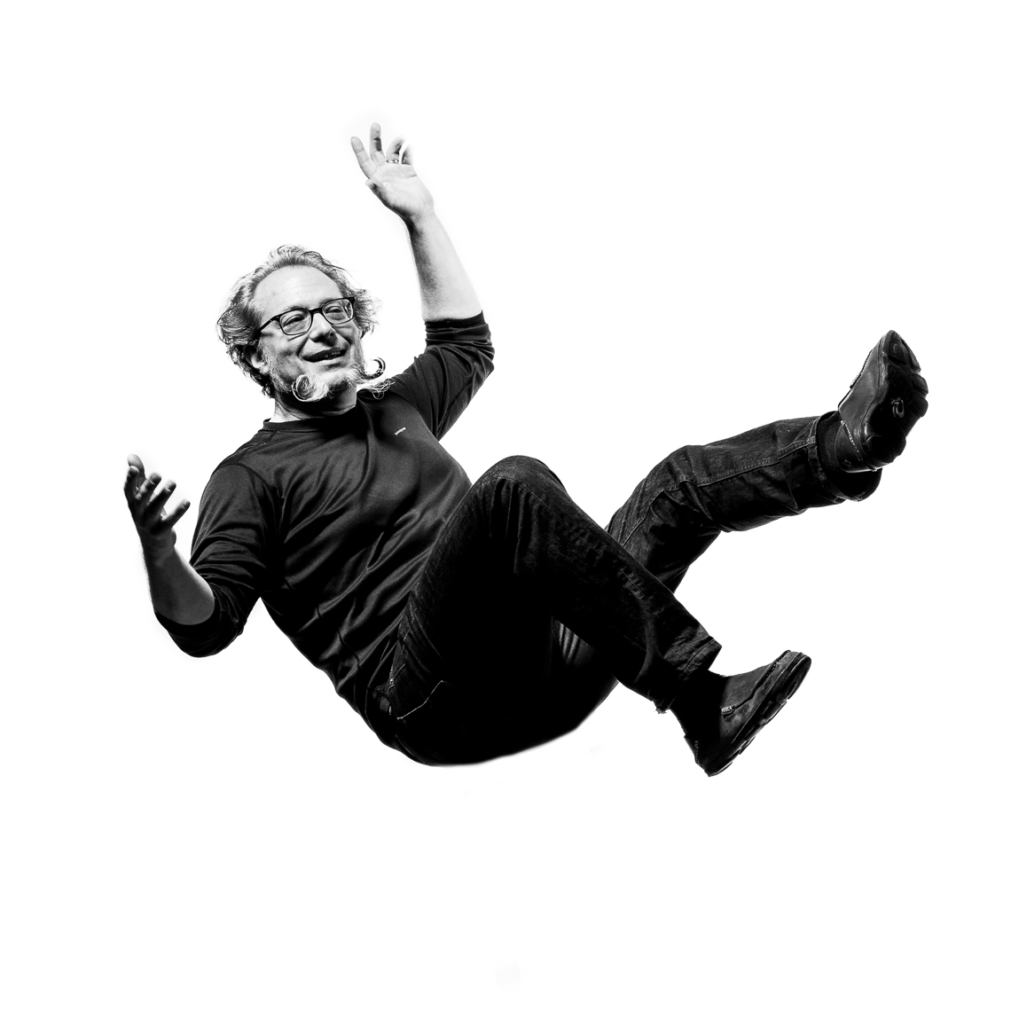 portrait-black-white-man-falling