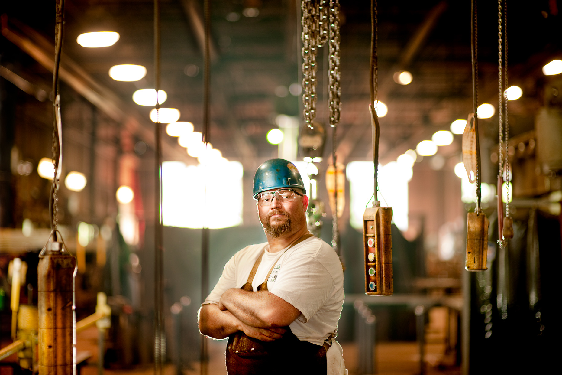 Manufacturing Worker in Hardhat | Commercial Photographer