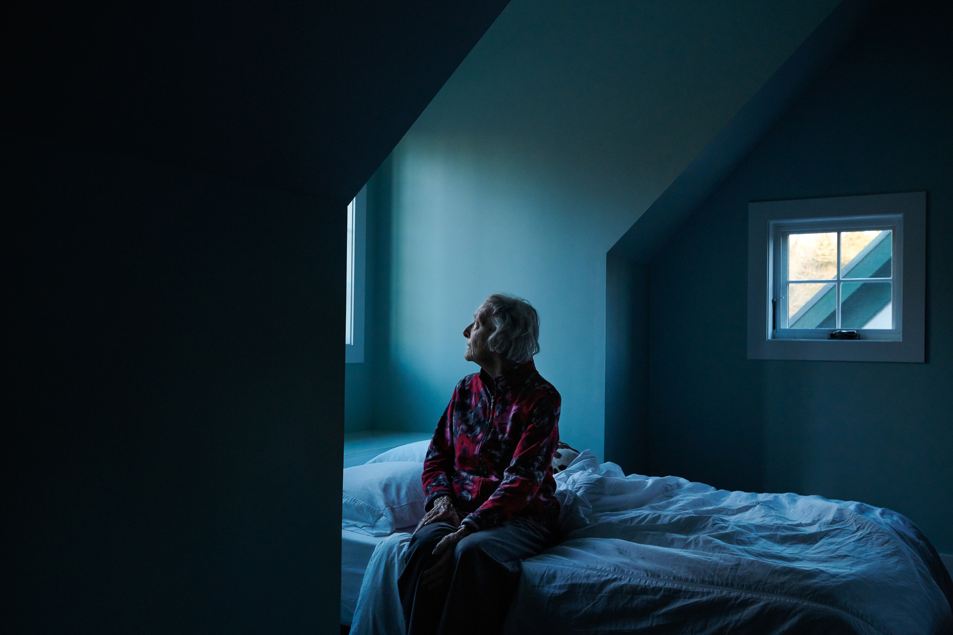 Personal Photography Project: Vignettes - Elderly mom sitting on bed by window